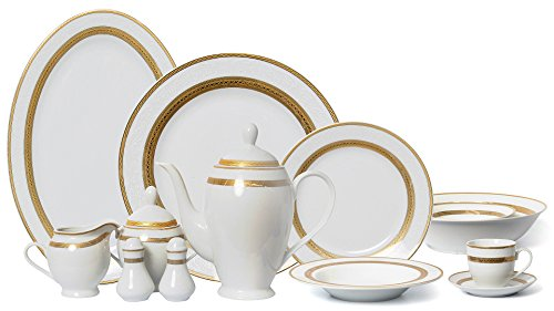 Euro Porcelain (EURO Porcelain 57-Piece Large Dinner Banquet Set, 24K Gold-Plated Tableware Dinnerware, Luxury Bone China Service for 8 (Edina))