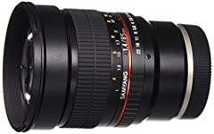The Samyang 85mm f/1.4 Manual Focus is an ultra-bright lens with a maximum aperture of f/1.4. Although you can only use this lens in manual focus mode, it is fully compatible with the automated features available with digital SLR cameras. It ...