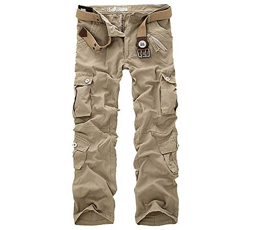LANBAOSI Hommes Pantalon en Coton Armée Cargo Pantalon Camouflage Camo