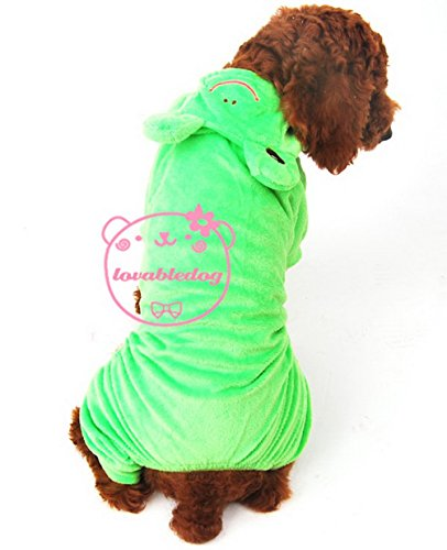 SELMAI Frog Dog Halloween Costumes Small Dog Pajamas Jumpsuit Pet Clothes Green L (Cute Toga Ideas)