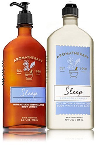 - Bath & Body Works Aromatherapy Sleep - Lavender + Vanilla Body Lotion, 6.5 Fl Oz + Body Wash & Foam Bath, 10 Fl Oz