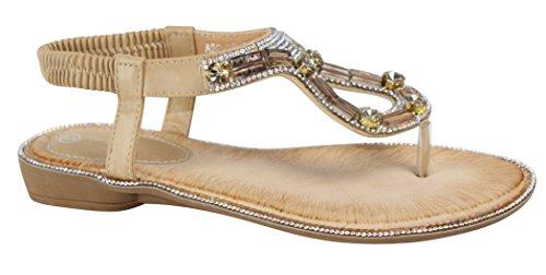 Cambridge Selezionare Donna T-strap Cristallo Strass Gioiello Teardrop Ritaglio Slip-on Perizoma Sandalo Flat Beige