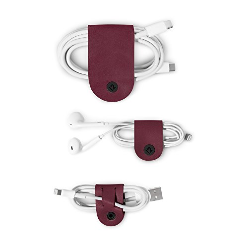 Twelve South CableSnap | 3pk, Leather cable organizers, marsala