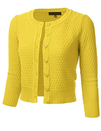 FLORIA Women's Button Down 3/4 Sleeve Crew Neck Cotton Knit Cropped Cardigan Sweater BABYYELLOW L