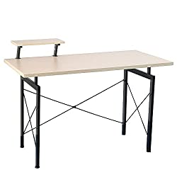 Lovinland Wooden Computer Desk with Top Shelf Concise Office Desk Furniture for Home Office Wooden Color