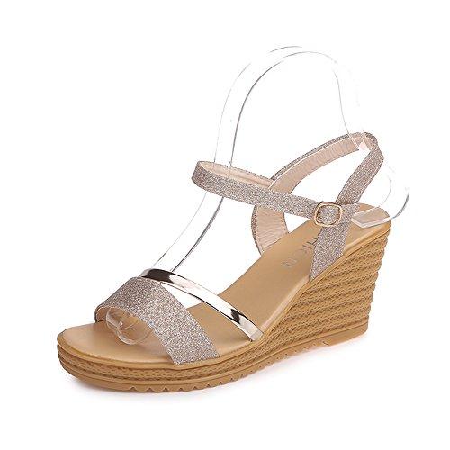 Donna Fondo Tacco Piattaforma Zhirong Alto Sandali Toe Silver Da Oro Scarpe Estivi 8cm Colore uk3 Eu36 5 Dimensioni Open Spiaggia Con Impermeabile Spesso cn35 wOxfYExzrq