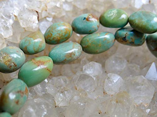 Turquoise Nugget Set - GemAbyss Beads Gemstone Lovely Blue Green & Amber Brown Morenci Arizona Turquoise | Irregular Smooth Oval Nuggets | 7x7.5-12x7mm | Sold in Sets of 6 Beads Code-MVG-32216