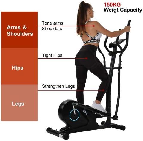 Keebgyy Ellittica Machine Trainer Home Cross Trainer con monitor LCD e manopole di frequenza cardiaca magnetica liscia e silenziosa guidata cardio allenamento