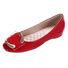 CAMSSOO Women's Cute Square Toe Bow Flats Ladies Patent PU Loafer Shoes