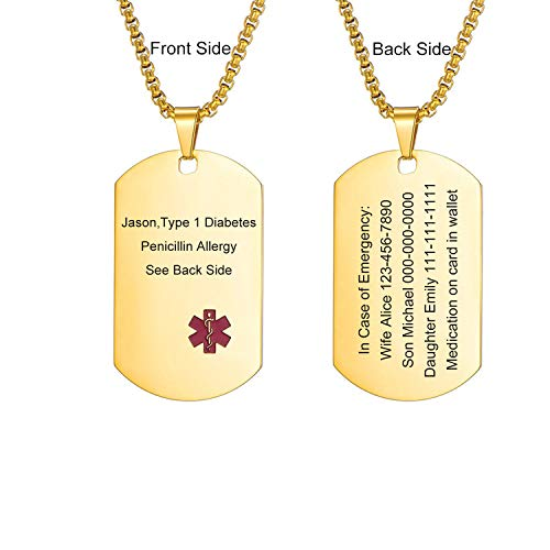 (LMXXV 24MM×40MM Custom Laser Engraved Medical Alert ID Quality Metal Gold Plated Stainless Steel Dog Tag Pendant Neckalce)