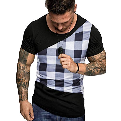 Mens Casual Shirts,Short Sleeve Tops O Neck Slim Fit Blouse Color Block Plaid Tunic Loose Elastic Tee ()