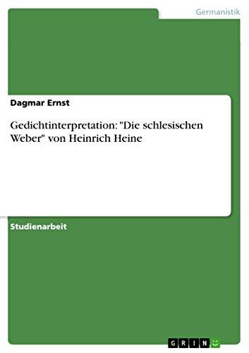 Amazoncom Gedichtinterpretation Die Schlesischen Weber