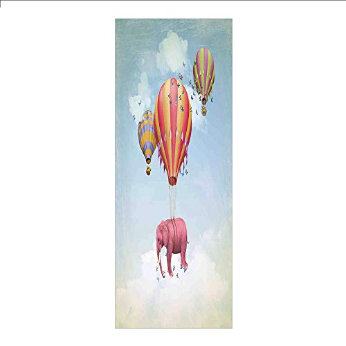 Decorative Privacy Window Film/Pink Elephant in the Sky with Balloons Illustration Daydream Fairytale Travel Decorative/No-Glue Self Static Cling for Home Bedroom Bathroom Kitchen Office Decor - Daydream Lilac