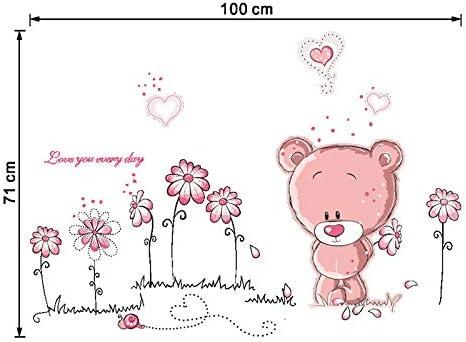 Kibi Stickers muraux ours rose et fleurs adh/ésifs muraux oursons enfants stickers muraux oursons