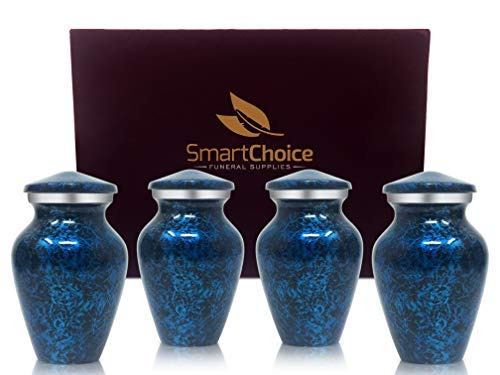 (Set of 4 SmartChoice Keepsake Cremation Urns for Human Ashes - Handcrafted Funeral Memorial Mini Urns (Forest Blue) )