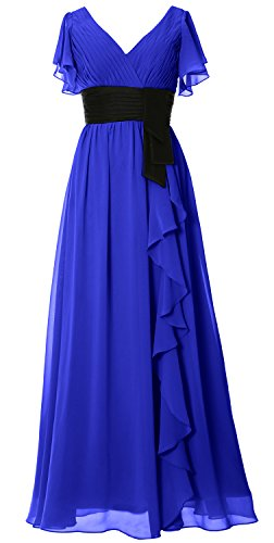 Of Bride Sleeve Long Dress Macloth Royal Neck Short V Bridesmaid Wedding Mother Party Blue PvPnq1wgtI