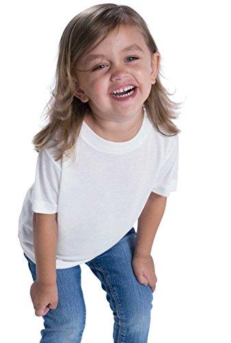 (Sublivie Toddler 100% Polyester Crew Neck Short Sleeve Sublimation Tee White )