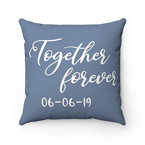 FabricMCC Customized Blue Pillow Cover with Wedding Date for Wedding/Engagement, Together Forever Personalized Gift for Newly weds, Gift for Couple