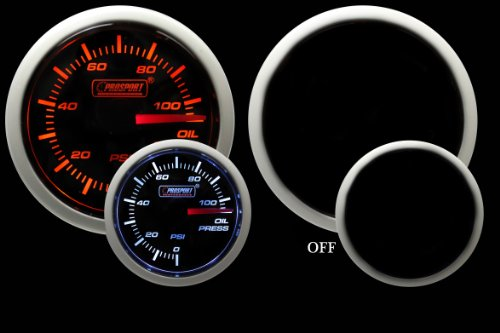 Oil Pressure Gauge- Electrical Amber/white Performance Series 52mm (2 1/16)