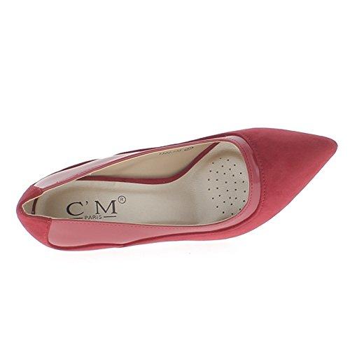 ChaussMoi Zapatos Rojos con Tacón Fino 10cm Gamuza y Cuero Mirada de Sharp