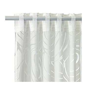 Amazon Ikea Curtain Nordis White With Sheer Design 57 X 98 2 Panels Home Kitchen