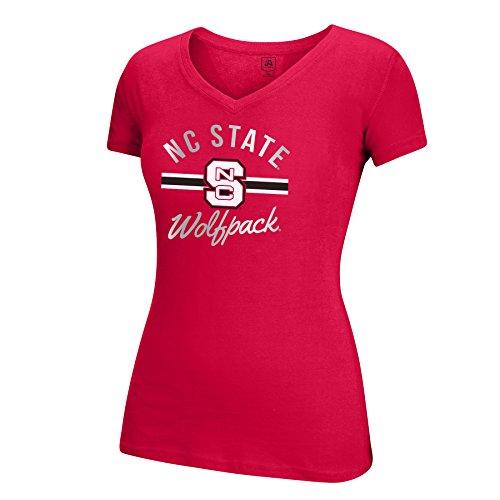 Cal Wolf - J America NCAA North Carolina State Wolfpack Women's School Spirit Stripe Essential Tee, XX-Large, Red