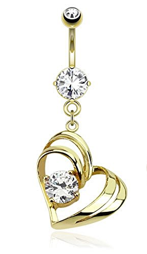 Gold Belly Heart Dangle (Single Pronged Clear Gem In Hollow Heart Dangle Gold IP Plated Navel Ring 14G)