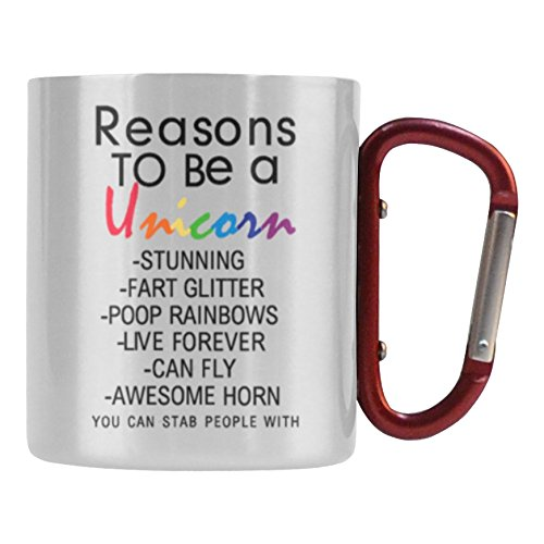InterestPrint Reasons to Be A Unicorn Quotes 10.3oz Classic Insulated Stainless Steel Camping Travel Water Coffee Mug Cup, Unique Birthday Gift for Men Women Mom Dad Husband Wife Girl Boy Friends