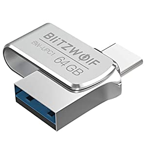 BlitzWolf USB Flash Drive 64GB USB 3.0 Type C Memory Stick OTG High Speed Waterproof Thumb Drive Mini USB Flash Drive…