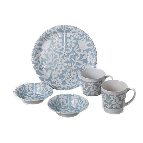 Zen Table Japan BIRD-LAND 5-Piece Scandinavian Design Dinnerware Set Made in Japan - Blue
