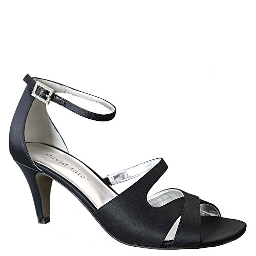 Gorgeous Black Satin Rhinestone Sandals - David Tate Women's Gaze Ankle Strap Sandal,Black Satin,US 7.5 M