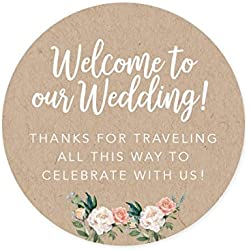 Andaz Press Out of Town Bags Round Circle Gift Labels Stickers, Welcome to Our Wedding Thanks for Traveling to Celebrate with Us, Kraft Brown Tan, 40-Pack, for Destination OOT Gable Boxes