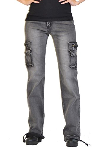 omen's Wide Leg Cargo Pants Combat Trousers - Faded Grey US10/UK12 (Flap Pocket Wide Leg Jeans)
