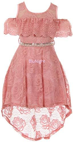 BluNight Collection Big Girls Cold Shoulder Floral Lace Hi Lo Easter Wedding Bridesmaid Flower Girl Dress Rose 16 (2J1K7S6) -