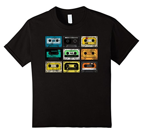 Kids Vintage Audio Cassette Shirt 80s 90s Retro 6 Black -