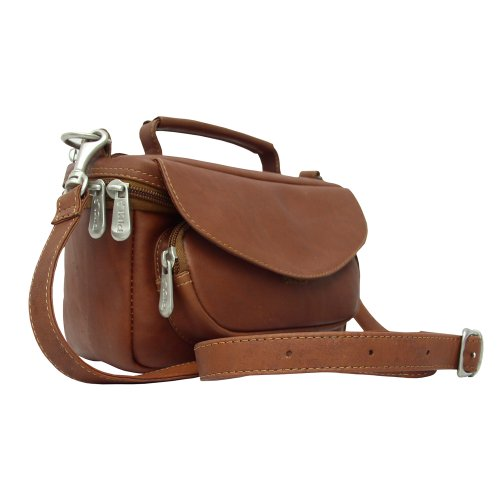 Piel Leather Deluxe Carry-All Camera Bag, Saddle, One (Piel Mens Bag)