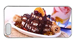 Customized iphone 5 case pretty Chocolate cake dessert sweet food PC Transparent for Apple iPhone 5/5S