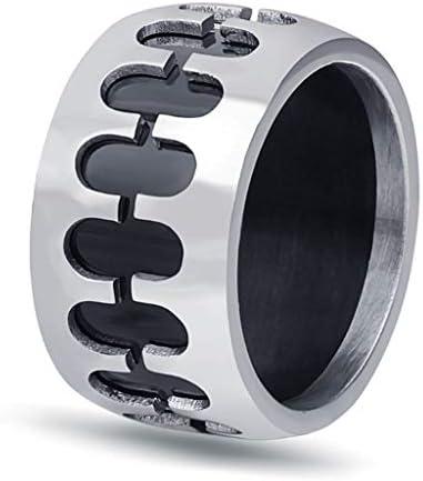 12ミリメートルチタン鋼リング、ファッション対称アートスタイル中空リング、男性の若者の贈り物 (Color : Metallic, Size : #12)