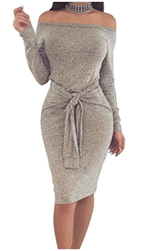 Coolred-femmes Silm Sangles Sexy Adaptent Manches Solide Longue Robe Gris Froid Épaule