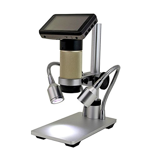 Wisamic HDMI Digital Microscope 10x-300x Optical Zoom 1920x1080P Resolution with Workbench, LED Lights and LCD Display