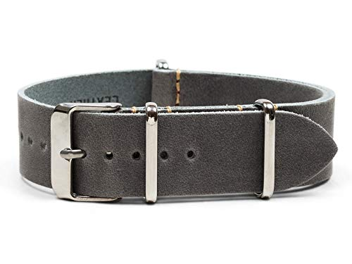 Benchmark Straps 18mm Gray Oiled Leather NATO Watchband (More Colors Available)