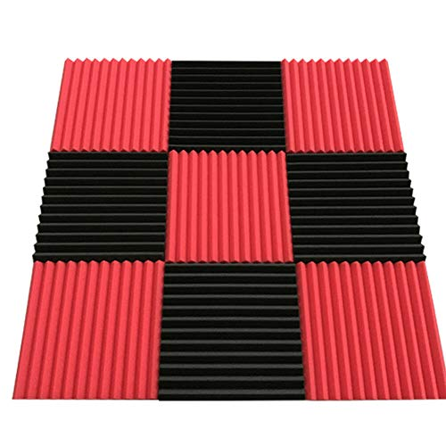 "48 Soundproof Cotton Bales Red Plus Black,48 48PC Studio Acoustic Sound Absorption Foam Proof In Black Red Usa Nvironmentally Polyurethane 48Pack Black Red Sound Absorbing Sponge Square New Pack 12""x from LOYALHEARTDY19"