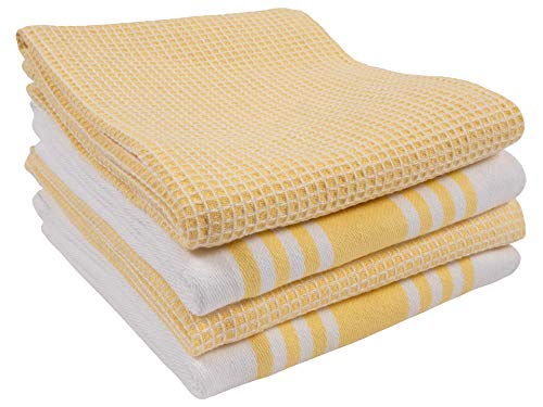 KAF Home Set of 4 Centerband and Waffle Flat Kitchen Towels | 18 x 28 Inch Absorbent, Durable, Soft, and Beautiful Kitchen Towels | Perfect for Kitchen Messes and Drying ()