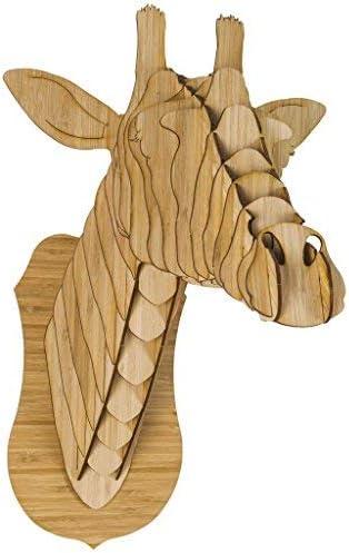 Cardboard Safari Bamboo Plywood Animal Taxidermy Giraffe Trophy Head, Juliette X-Large