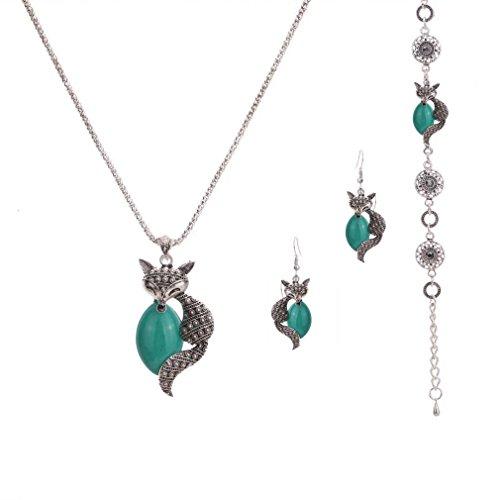 (YAZILIND Plate Green Fox Popcorn Chain Necklace Earrings Bracelet for Women Jewelry Set )