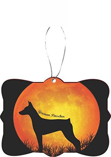 Rikki Knight RKWS-SQORN-41362 Christmas Tree Ornament/Car Rear View Mirror Hanger German Pinscher Dog Silhouette by Moon Design