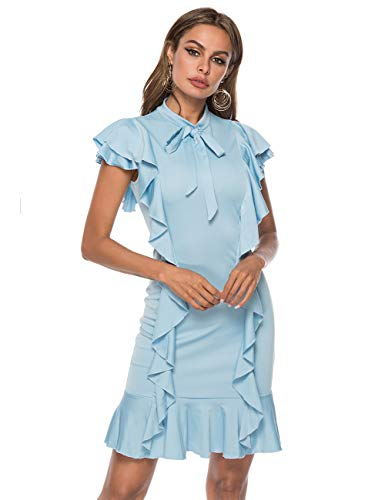 (MARI CIAS Women's Ruffle Tie Neck Dress Cap Sleeve Short Cocktail Party Dresses (M, Light Blue))