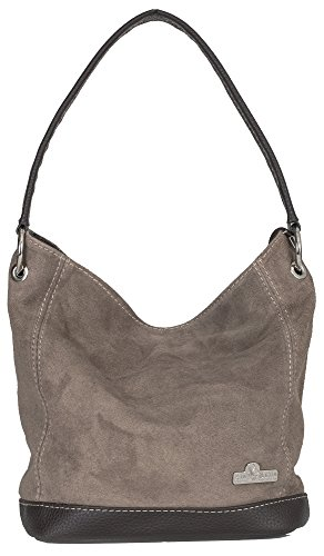 Italian Suede LIATALIA Deep Taupe Single Made Hobo Purse DENISE Medium Real Handbag Leather Handle Hand HnTTYqXw