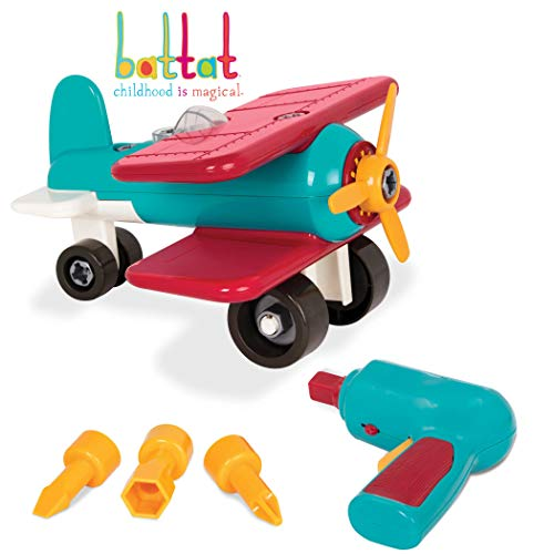 Battat - Take-Apart Airplane - Toy vehicle assembly playset with functional battery-powered drill - Early childhood developmental skills toy for kids aged 3 and up