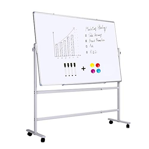 (ZHIDIAN Double-Sided Magnetic Whiteboard with Stand Height-Adjustable, Movable Dry Erase Board on Wheels, Aluminium Frame with Marker Tray, 36 x 24 inches whiteboard with Markers and)